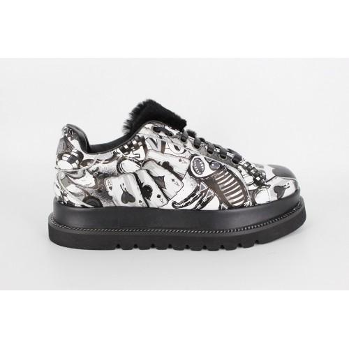 Pantofi graffiti alb/negru