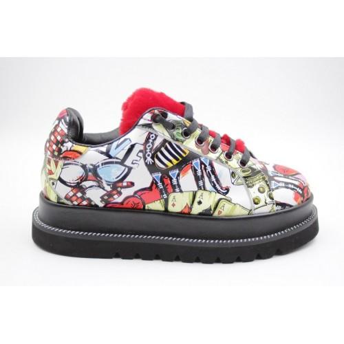 Pantofi graffiti multicolor